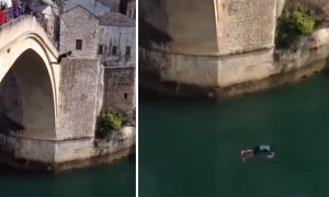 VIDEO – Jump from Mostar bridge goes horribly wrong
