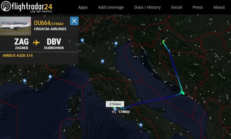 Flight path of Croatia Airlines flight to Dubrovnik (via Rome)