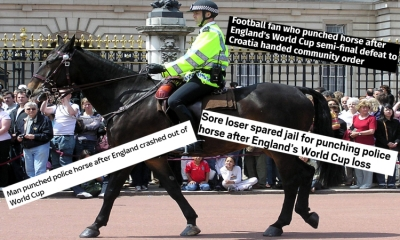 England football fan charged for hitting the police horse after Croatia-England semi-final match