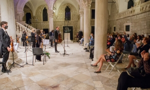 Dubrovnik Symphony Orchestra plays in front of an audience in Rector's Palace
