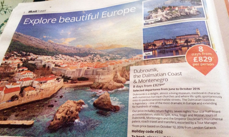 Dubrovnik features in The Daily Mail