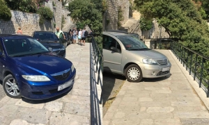 Parking pranks in Dubrovnik as drivers block same pavement twice