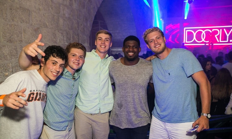 P. K. Subban (second from right) having a party in Dubrovnik