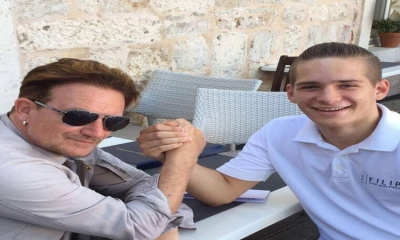 Bono Vox arm wrestling on the beautiful island of Korcula