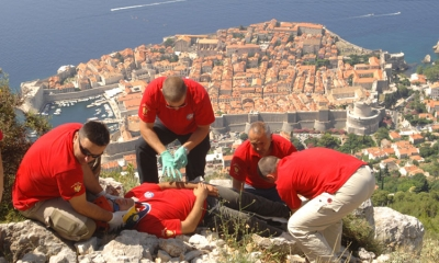 Croatian Mountain Rescue Service on exercise over Dubrovnik