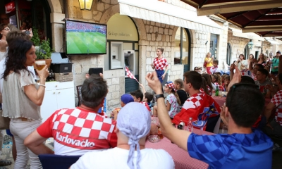 Supporters watching the game in Dubrovnik